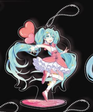 Hatsune Miku Ribbon Heart Key Chain Mascot with Stand - D