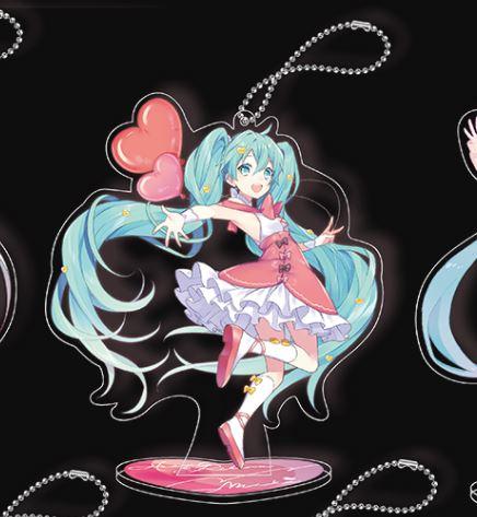 Hatsune Miku Ribbon Heart Key Chain Mascot with Stand - D