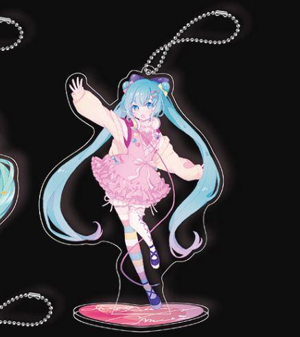 Hatsune Miku Ribbon Heart Key Chain Mascot with Stand - E