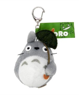 Large Totoro with Leaf Keychain